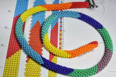Marlene Brady.  Summer colors in bead crochet.