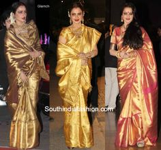 Rekha in golden kanjeevarams