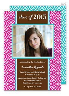 Bright Pink Ironwork Graduation Photo Invitations