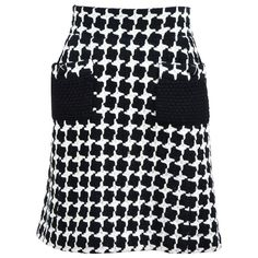 Chanel 07A Black White Wool Blend Tweed Houndstooth Knit A-Line Skirt Size 38 1