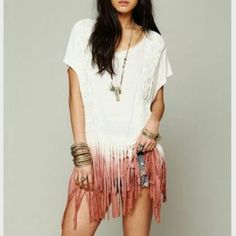 """Free People fringe ROUGH RIDER OMBRE TEE tunic free people Rough Rider Ombre Tee  White Rough Rider Ombre Tee  Dip-dyed oversized tee with fringe trimming all around the bottom and woven fringe detailing down both sides of the front and at the top of the shoulders. Low """"v""""-drop in the back and ties going across upper back. Fabric is lightweight  BRAND NEW WITHOUT TAGS Free People Tops"""