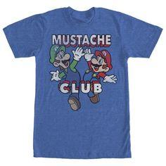Nintendo Mario and Luigi Mustache Club Mens Graphic T Shirt, Men's, Size: XL, Blue
