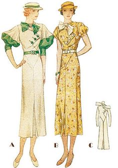 Pattern for day dresses, 1930s.