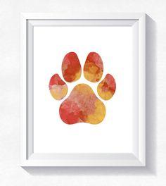 Dog paw print, cat paw, animal paw, pawprint printable, paw print poster, dog wall art, paw wall art, watercolor pawprint, digital paw print by HappyLittleFrog on Etsy