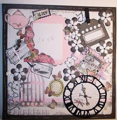 12x12 Premade Scrapbook Page Shabby Chic, Girly Girl in Pink, Black and White