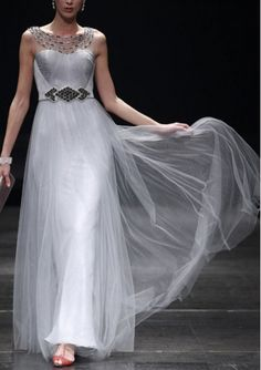 Silver Halter Evening Dresses With Beading