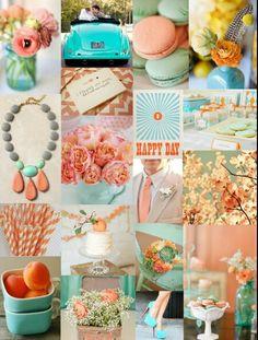 Coral & turquoise wedding