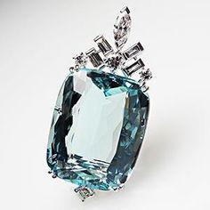 Estate Natural 34 Carat Aquamarine & Diamond Pendant Solid Platinum Fine Jewelry | eBay
