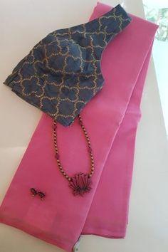 Pink Saree Blouse, Saree Designs Party Wear, Cotton Saree Blouse Designs, Fancy Blouse Designs, Saree Dress, Plain Chiffon Saree, Plain Saree, Silk Sarees, Kalamkari Saree