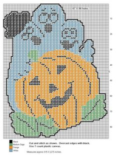 3 Ghosts Behind a Pumpkin Plastic Canvas Books, Plastic Canvas Coasters, Plastic Canvas Tissue Boxes, Plastic Canvas Christmas, Plastic Canvas Crafts, Plastic Canvas Patterns, Beaded Cross Stitch, Cross Stitch Embroidery, Cross Stitch Patterns