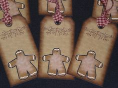 Set of 6 Primitive Gingerbread Men Pip Berries by ChooseMoose