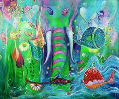 El elefante de los mares | The elephant of the seas | Acrílico sobre lienzo | Acrylic on canvas by Pili Tejedo 150 x 130 cm
