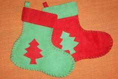 Bonita bota de Navidad en fieltro