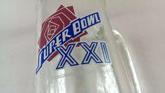 #SuperBowl XXI Glass Stein Mug Beer Soda #NFL 1987 http://etsy.me/1JOJEi0 #vintage #giants #nygiants #broncos #80s