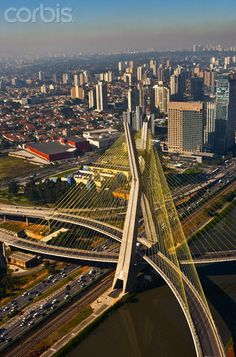 Octavio Frias de Oliveira Bridge, Sao Paulo's most iconic image, spans the Pinheiros River in the city's south zone