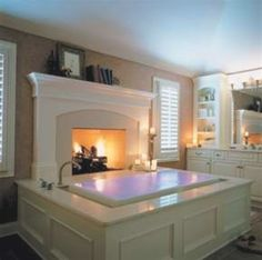 Infinity tub with a fireplace? yes, please.