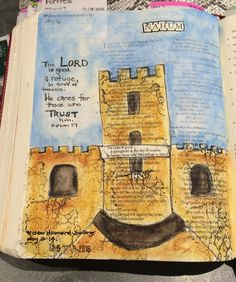 """Day 14- #deardiamondchallenge  Nahum 1:7 """"The Lord is good a refuge in times of trouble. He cares for those who trust him""""  #biblejournalingcommunity #biblejournaling #faithart http://ift.tt/1KAavV3"""