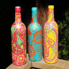 #paintedbottles #puffpaint #paint #winebottledecor #diy #crafts #simpledecor #winebottle #beverlys #bevelryfabrics