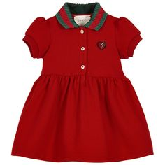 Baby Girls Red Cotton Piqué Dress - Gucci Baby Clothes - Ideas of Gucci Baby Cl. Gucci Baby Clothes, Luxury Baby Clothes, Designer Baby Clothes, Cute Baby Clothes, Preppy Baby Girl, Baby Girl Fashion, Toddler Fashion, Kids Fashion, Fashion Outfits