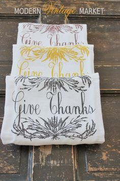 Give Thanks  kitchen towels for Thanksgiving and Fall perfect for decorating your home for the season by #Modern Vintage Market