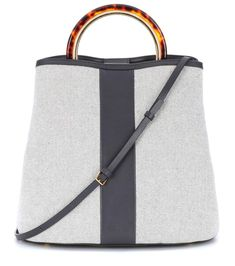Marni Panier canvas and leather tote