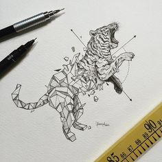 Geometric Beasts | Tiger Been receiving inquiries about getting them tattooed. Pls feel free to do so. Would love to see photos of them once finished so tag me, message or email me. ✌️