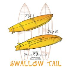 Surfboard-Swallow Tail— original patent art design by PatentWear. Demand in the mid-70s for shorter, more maneuverable boards and better designs for small wave riding brought out the split tails. Featuring the Swallow Tail Surfboard design patent granted to Michael Slingerland in 1981, this design typifies the standard hotdog type board that dominated the era, and contributed to today's finely-tuned tail variations for every condition and level of ability. See The Story at www.patentwear.com