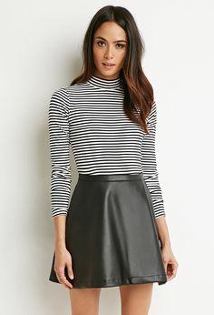 Faux Leather Skater Skirt - Skirts - 2000172556 - Forever 21 EU English