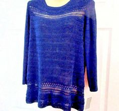 NWT CHARTER CLUB (Size: L)  Navy Blue Knitted Sweater Acrylic/Nylon 3/4 Sleeve  #CharterClub #Knitted Black Cashmere Sweater, Navy Blue Sweater, Blue Sweaters, Cashmere Sweaters, Sweaters For Women, Ebay Shopping, Shrug Cardigan, Nice Clothes, Clothes For Women