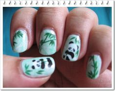 Panda water decals with white background, stamped with leaves from a bundlemonster plate.