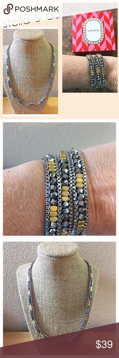 "🌟Stella & Dot Luna Wrap Bracelet 🌟 Gorgeous Stella & Dot Luna Wrap Bracelet is a woven mix of glass beads and nuggets with custom gold plating it's on a brass box chain that easily creates the layering look. This can also be worn as a necklace. It's approximately 20.5"" L with 2 "" extender Lobster clasp closure. It's a beautiful piece. Gently loved and used box is included. Stella & Dot Jewelry Necklaces"