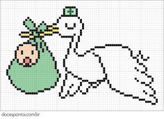 Oi meninas!!   Hoje trago para vocês o gráfico de uma cegonha trazendo um bebezinho.  O gráfico é super simples e deve ficar lindo bordado u...