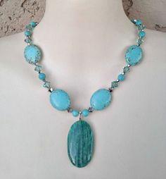 Necklace Genuine Amazonite Pendant Stone Swarovski Crystal Faux Turquoise Necklace #necklace #Statement #blue #stone