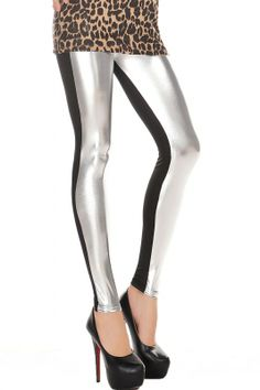 5ae1896a35c High Waist Metallic Leather Seamed Legging in Silver