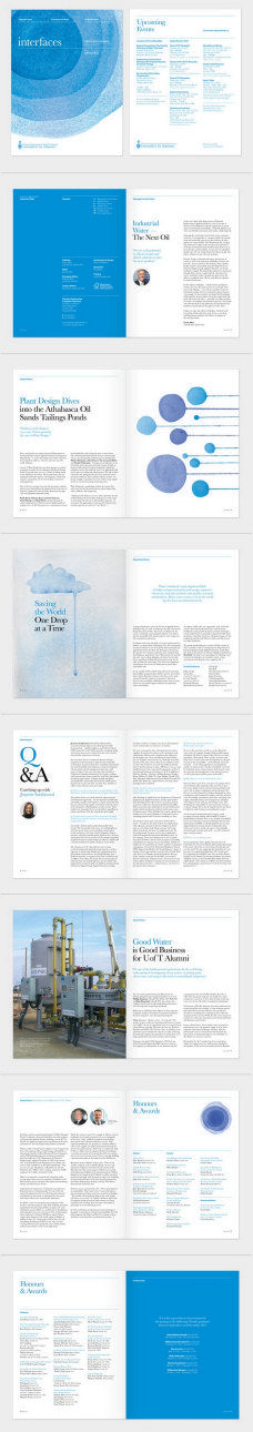 Corporate magazine layout using minimal typography and limited blue colour palette. Consistent and coherent grid layout throughout the booklet. Love the bright blue blocks of colour to contrast against the white pages. Editorial Design Layouts, Magazine Layout Design, Graphic Design Layouts, Graphic Design Inspiration, Magazine Layouts, Web Design, Book Design, Design Brochure, Brochure Layout