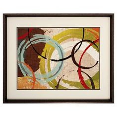 """Framed wall art featuring an abstract geometric print.Product: Wall artConstruction Material: Matboard, glass and polystryeneColor: Brown frameDimensions: 28"""" H x 34"""" W x 2"""" DCleaning and Care: Wipe clean with dry cloth"""