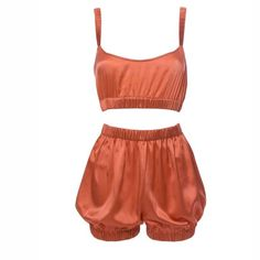 Roses Are Red - Sundays Are For Ever Silk Sleepwear Set Coral a7c239566