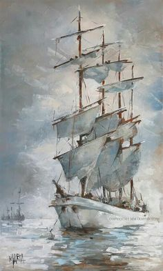 Strings of Grace on Holy Waters Original Fine Art Painting by Maria Magdalena Oosthuizen. Boat Drawing, Ship Drawing, Boat Illustration, Sea Pictures, Sailboat Art, Boat Painting, Learn Art, Seascape Paintings, Ship Art