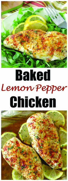 Incredibly Flavorful Baked Lemon Pepper Chicken Breast Recipe is healthy, low-carb and the perfect for cooking once, eating twice! Recipes With Chicken And Peppers, Chicken Stuffed Peppers, Baked Chicken Recipes, Chicken Meals, Recipe Chicken, Baked Lemon Pepper Chicken, Baked Chicken Breast, Lemon Chicken, Chicken Tenders