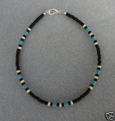 Blue-Turquoise-Black-Anklet-Ankle-Bracelet-Native-Made
