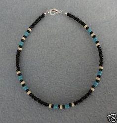 Blue-Turquoise-Black-Anklet-Ankle-Bracelet-Native-Made
