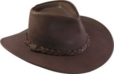 Australian brown leather cowboy hat made from raging bull full grain leather with a braided band & 3 inch brim. Find USA Made Henschel Hats at Leather Bound. Mens Cowboy Hats, Leather Cowboy Hats, Western Cowboy Hats, Cowboy Baby, Western Wear, Australian Cowboy Hat, Aussie Hat, Australian Hats, Weekender
