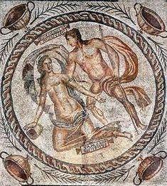 Daphné poursuivie par Apollon IIe siècle. Musée de Rouen. Mosaïque retrouvé à Lillebonne. Normandie