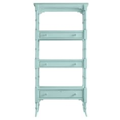 """Coastal Living Retreat Etagere 75.25'' Bookcase by Stanley furniture.  Here's a piece that makes the room. From its unusual box-on-box shelf  construction to its triple-ring post motif, this etagere provides  eye-catching, beach house charm. 36.5"""" W x 75.25"""" H x 17"""" D"""