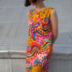 60s Shift Dress Vintage Floral Dress Screen Print Cotton Summer Fashion Mod Psychedelic Paisley Pop Art Peter Max style Pucci style. $55.00, via Etsy.
