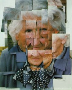 David Hockney-Mother-Photomontage-1985. I like the way that this piece shows the same face from different angles and at different stages of the smile.