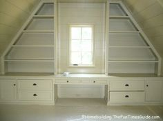 Great idea, built in shelfs. Would be perfect for the kids rooms . Vanity for AM and desk for Dom.