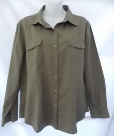 Chico's Size 3 Blouse Shirt green Cotton Snap Front 2 Pockets Long Sleeve #Chicos #ButtonDownShirt #Casual
