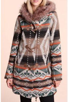 Native American motifs printed duffle coat very soft  / Duffle coat imprimé motifs amérindiens très doux