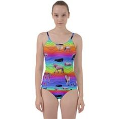 Horses In Rainbow Cut Out Top Tankini Set by CosmicEsoteric